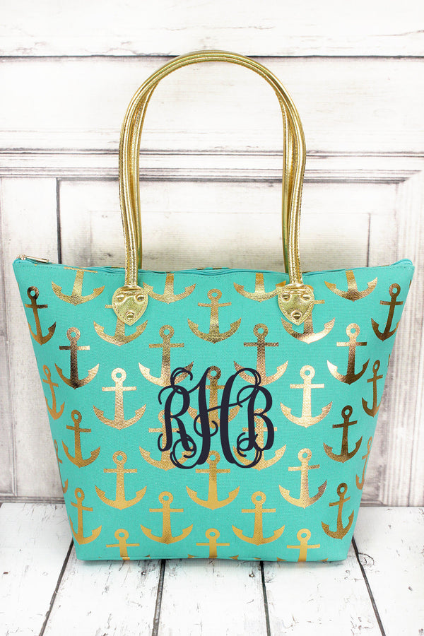 Metallic Gold Anchor Mint Shoulder Tote #GDDT909-MINT