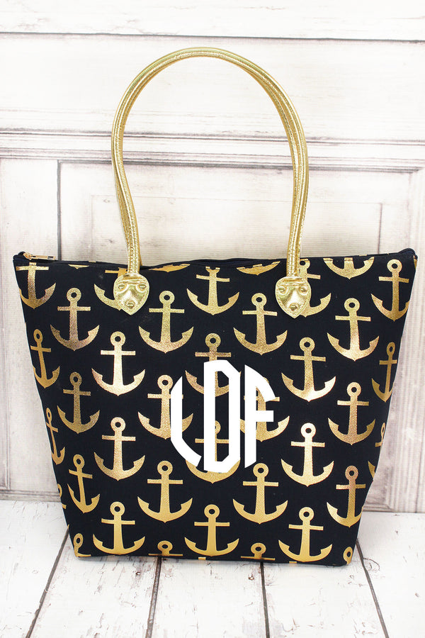 Metallic Gold Anchor Navy Shoulder Tote #GDDT909-NAVY