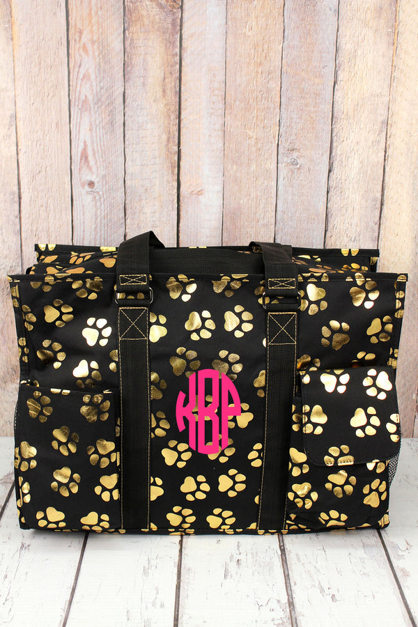 Metallic Gold Puppy Prints Black Large Organizer Tote