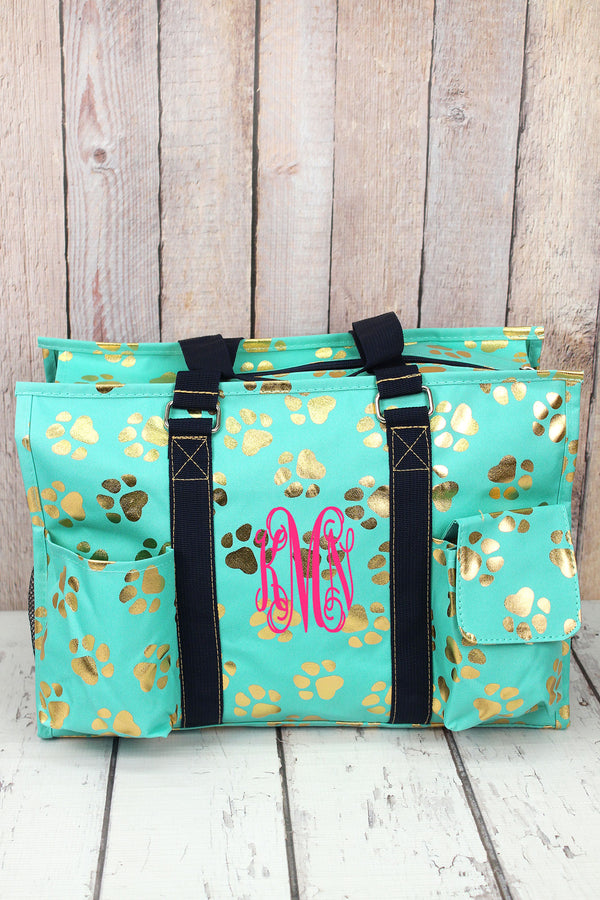 Metallic Gold Puppy Prints Mint Large Organizer Tote