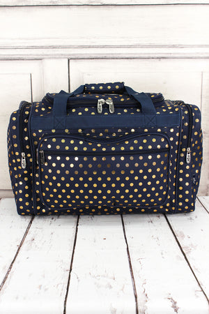 Metallic Gold Polka Dot Navy Duffle Bag 20""