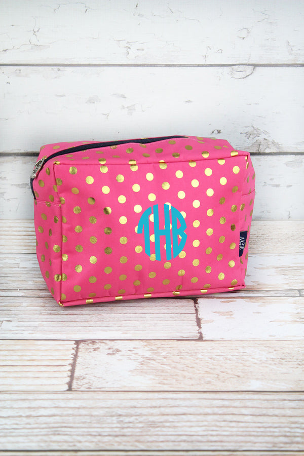 Metallic Gold Polka Dot Coral Pink Cosmetic Case