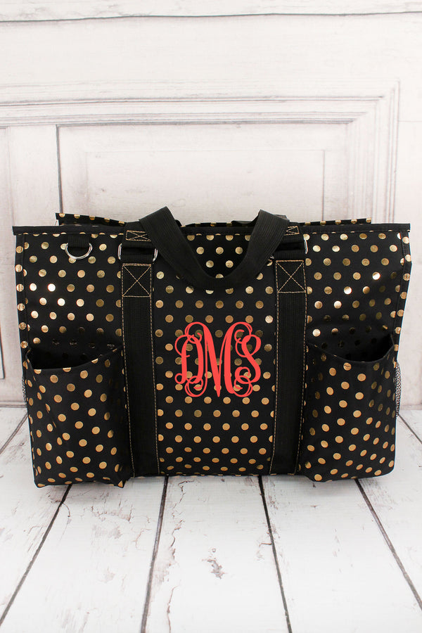 Metallic Gold Polka Dot Black Large Organizer Tote #GDOT733-BLACK