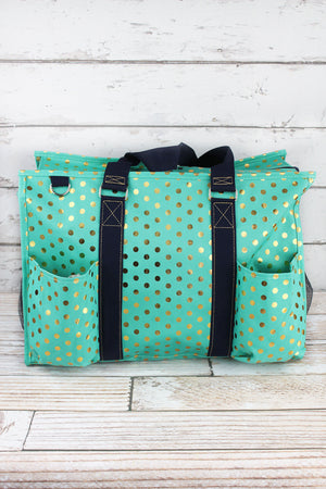 Metallic Gold Polka Dot Mint Large Organizer Tote