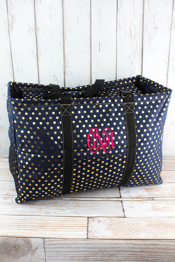 Metallic Gold Polka Dot Navy Collapsible Double Haul-It-All Basket with Mesh Pockets and Lid