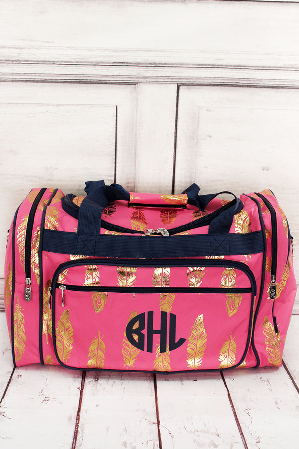 Metallic Gold Fancy Feathers Coral Pink Duffle Bag 20