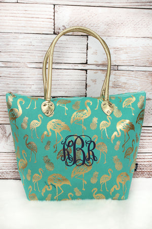 Metallic Gold Tropical Flamingo Mint Shoulder Tote
