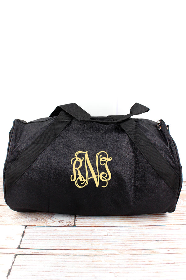 Black Glitz & Glam Barrel Duffle Bag 18""