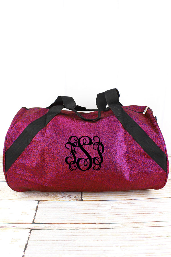 Hot Pink Glitz & Glam Barrel Duffle Bag 18""