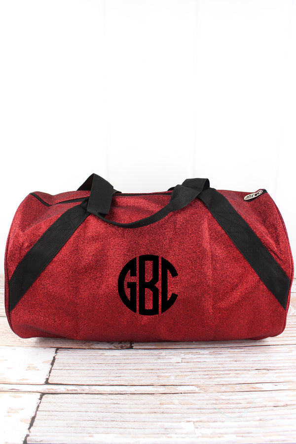 Red Glitz & Glam Barrel Duffle Bag 18""