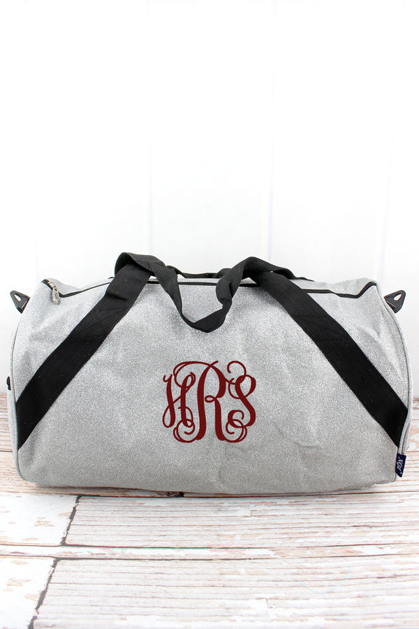 Silver Glitz & Glam Barrel Duffle Bag 18""