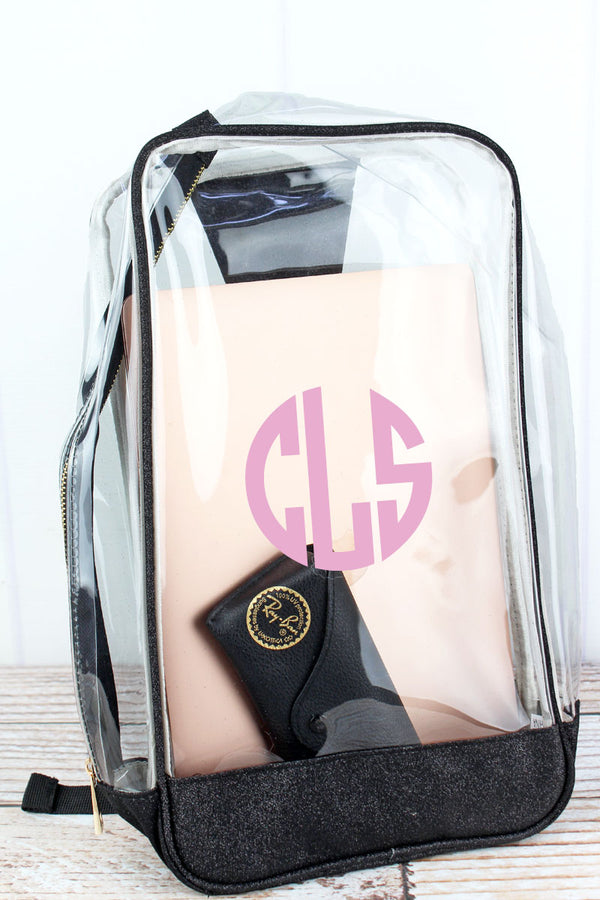 Clear Sling Backpack with Black Glitz & Glam Trim