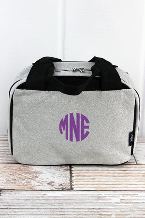Silver Glitz & Glam Insulated Bowler Style Lunch Bag
