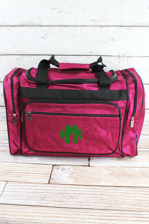 Hot Pink Glitz & Glam Duffle Bag with Navy Trim 20""