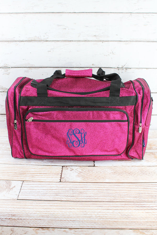 Hot Pink Glitz & Glam Duffle Bag with Navy Trim 23""
