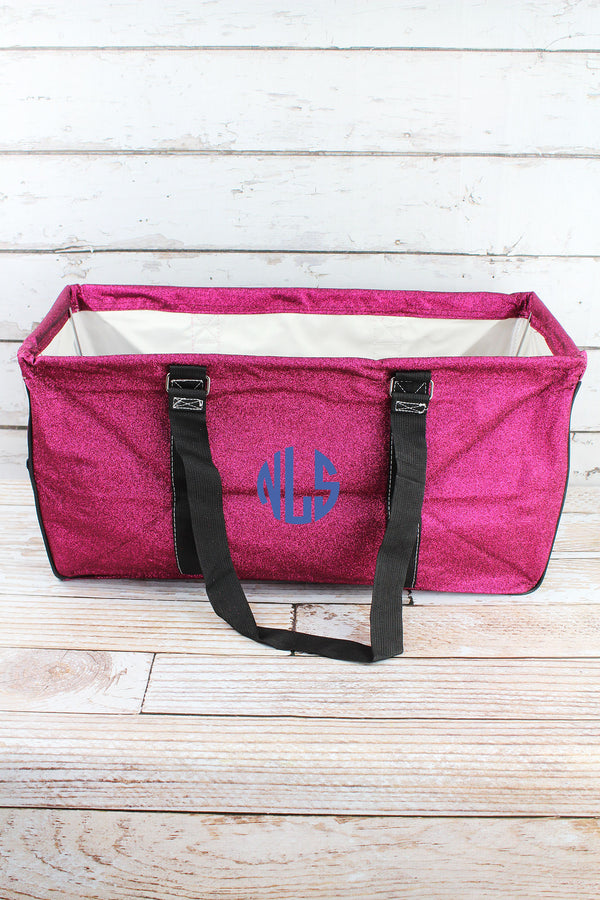 Hot Pink Glitz & Glam Collapsible Haul-It-All Basket with Mesh Pockets