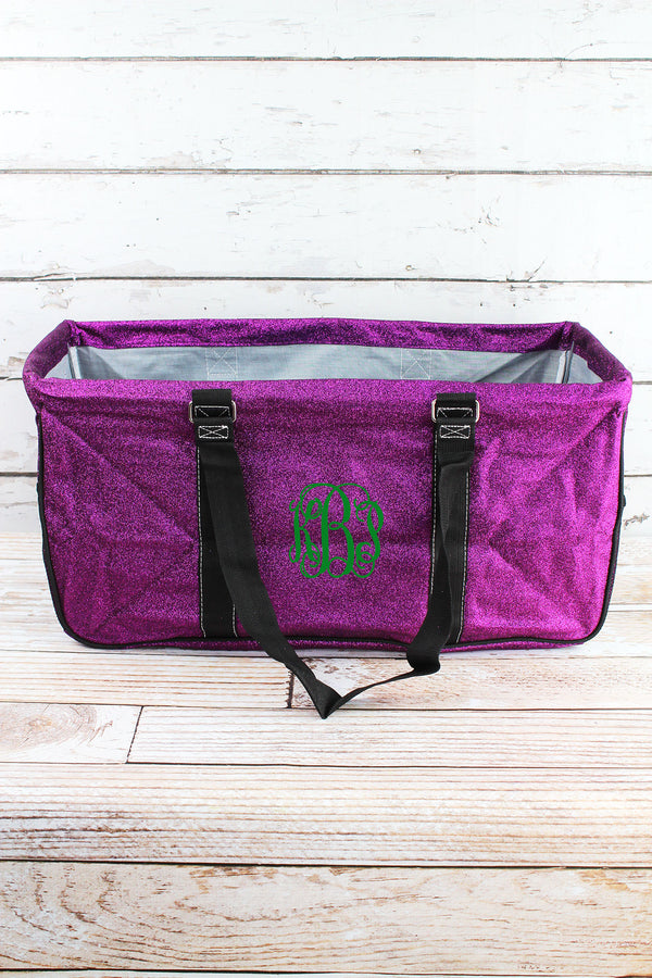 Purple Glitz & Glam Collapsible Haul-It-All Basket with Mesh Pockets