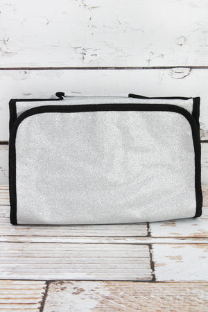 Silver Glitz & Glam Roll Up Cosmetic Bag