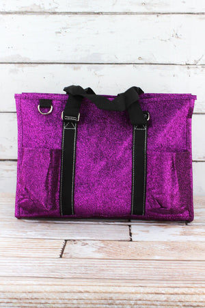 Purple Glitz & Glam Utility Tote with Black Trim