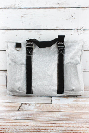 Silver Glitz & Glam Utility Tote with Black Trim