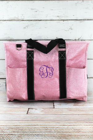 Pink Glitz & Glam with Black Trim Large Organizer Tote