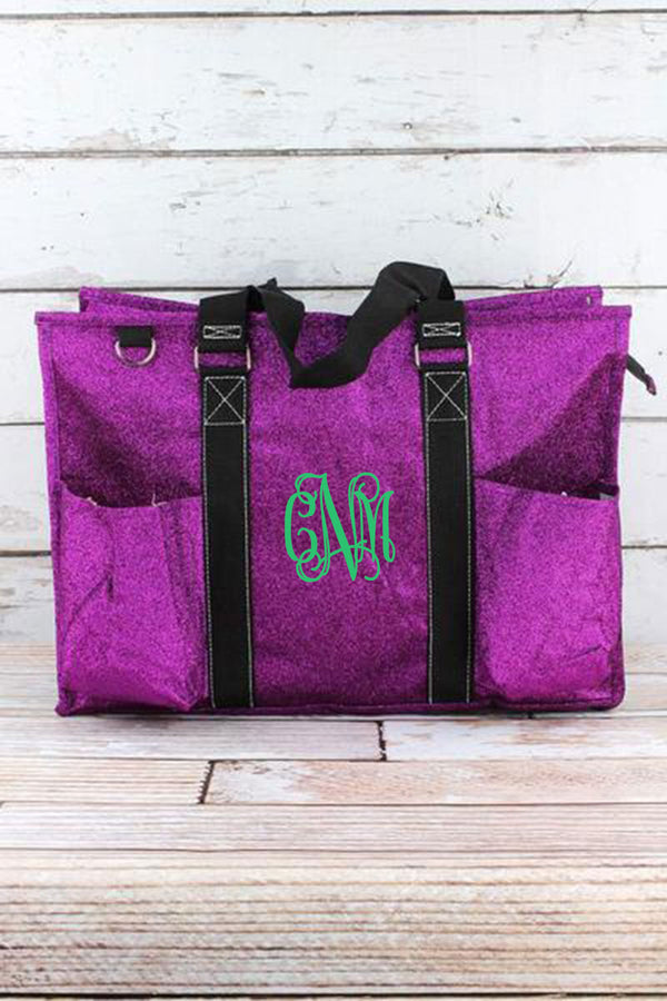Purple Glitz & Glam with Black Trim Large Organizer Tote