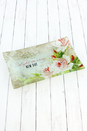 Delight In Every New Day Glass Trinket Tray #GLT012