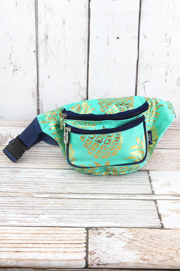 Metallic Gold Pineapple Paradise Mint Fanny Pack