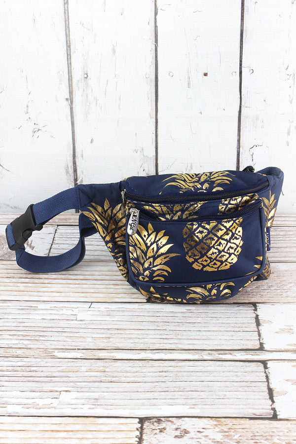 Metallic Gold Pineapple Paradise Navy Fanny Pack