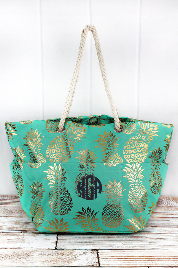 Metallic Gold Pineapple Paradise Mint Rope Handle Beach Tote
