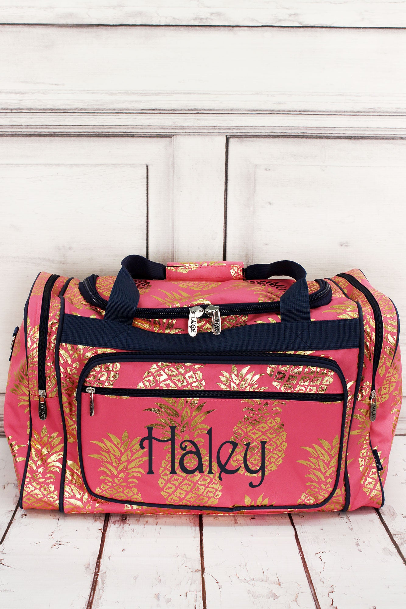 Metallic Gold Pineapple Paradise Coral Pink Duffle Bag 20