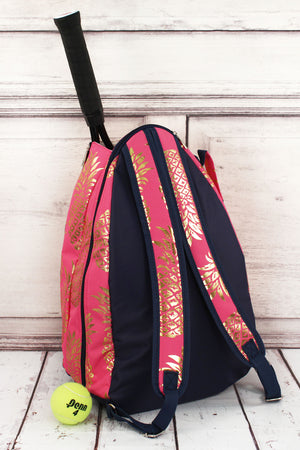 Metallic Gold Pineapple Paradise Coral Pink Tennis Backpack