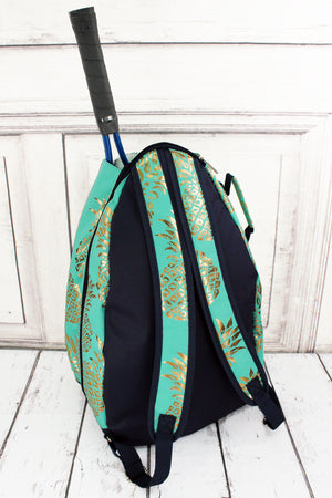 Metallic Gold Pineapple Paradise Mint Tennis Backpack