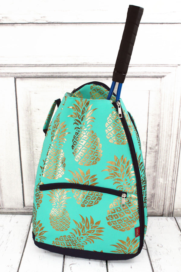 Metallic Gold Pineapple Paradise Mint Tennis Backpack #GNPL734-MINT