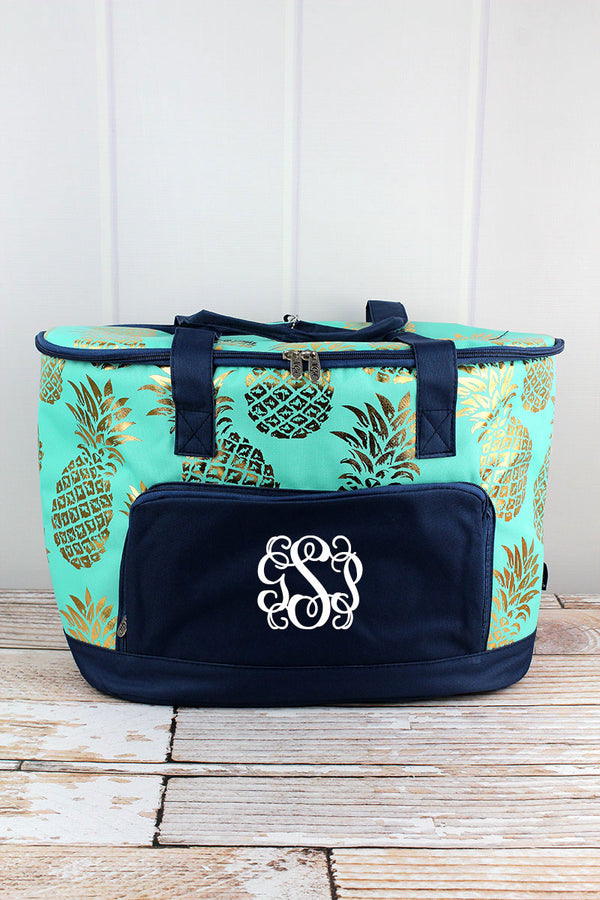 Metallic Gold Pineapple Paradise Cooler Tote with Lid