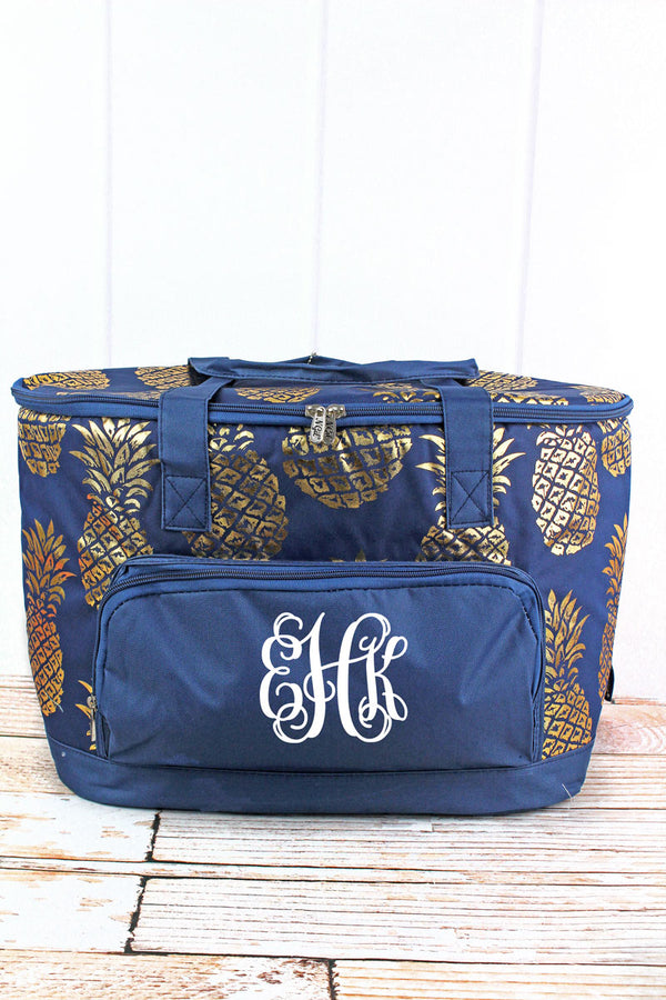 Metallic Gold Pineapple Paradise Navy Cooler Tote with Lid