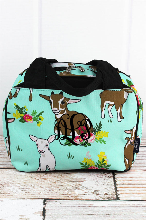 Giddy Goats Insulated Bowler Style Lunch Bag with Black Trim