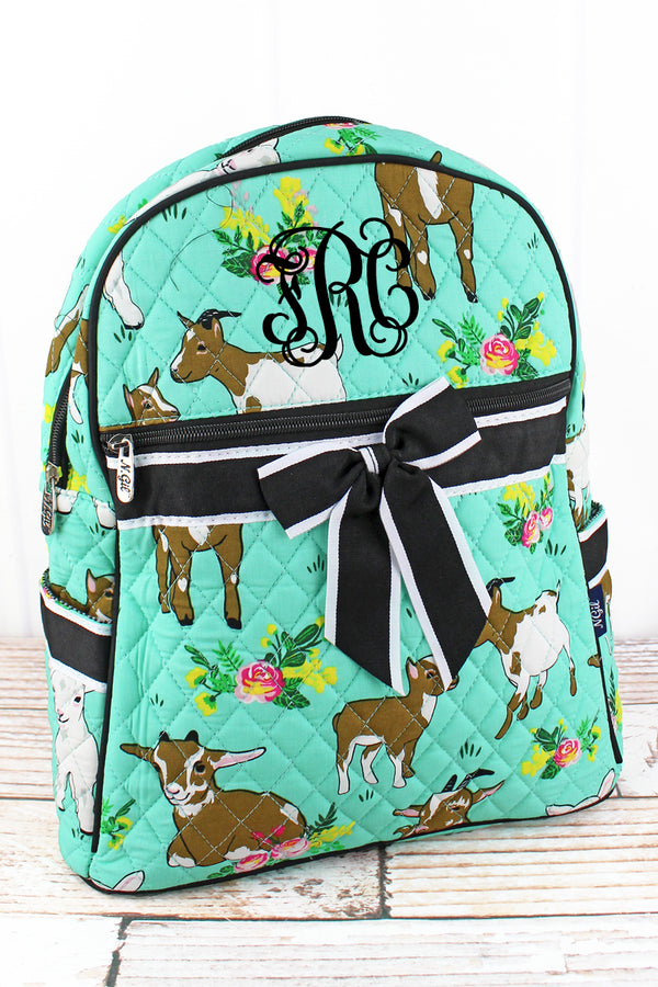 Giddy Goats Quilted Backpack