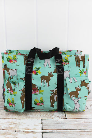 Giddy Goats with Black Trim Large Organizer Tote