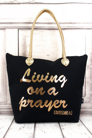 Metallic Gold 'Living on a Prayer' Navy Shoulder Tote
