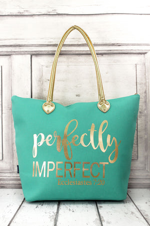 Metallic Gold 'Perfectly Imperfect' Mint Shoulder Tote