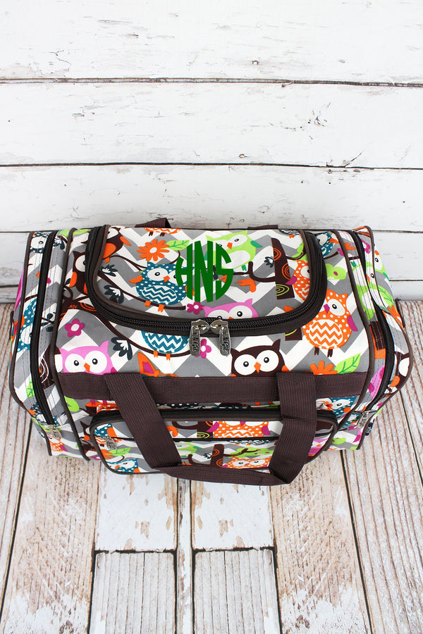 Gray Chevron Owl Party Duffle Bag with Brown Trim 17