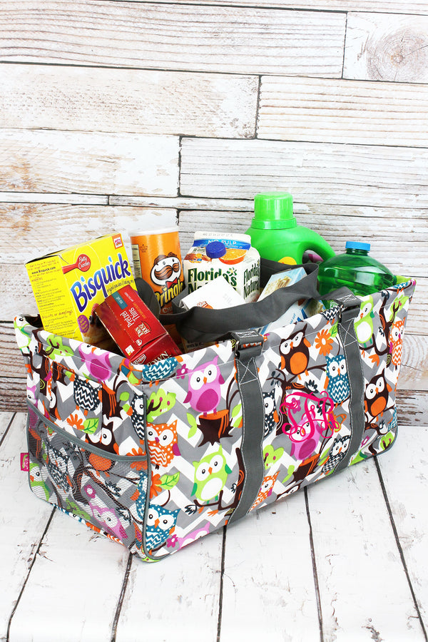 Gray Chevron Owl Party with Gray Trim Collapsible Haul-It-All Basket with Mesh Pockets