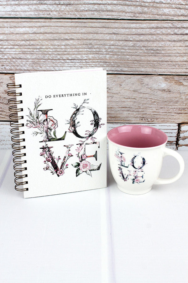 Pink Floral Love Journal and Mug Boxed Gift Set