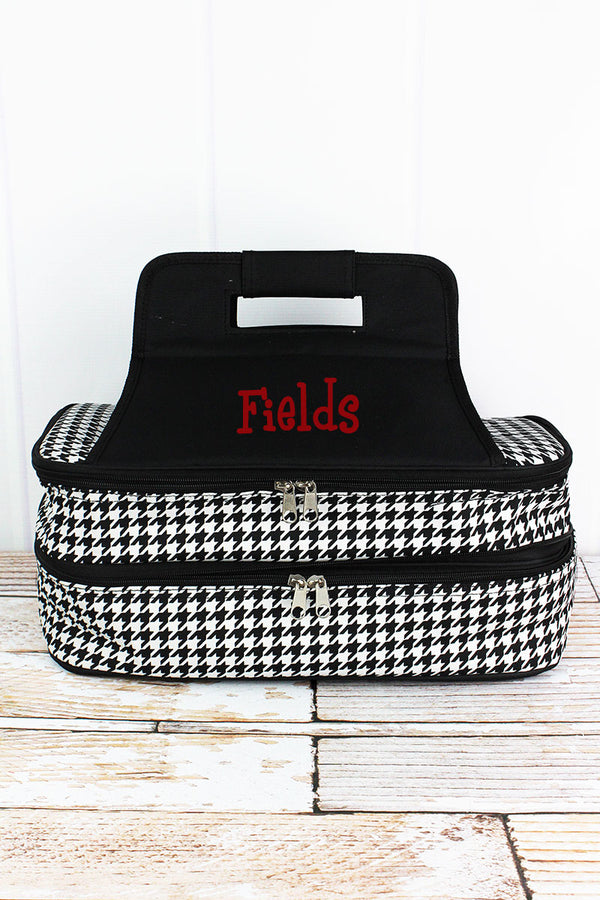 Houndstooth with Black Trim Insulated Double Casserole Tote