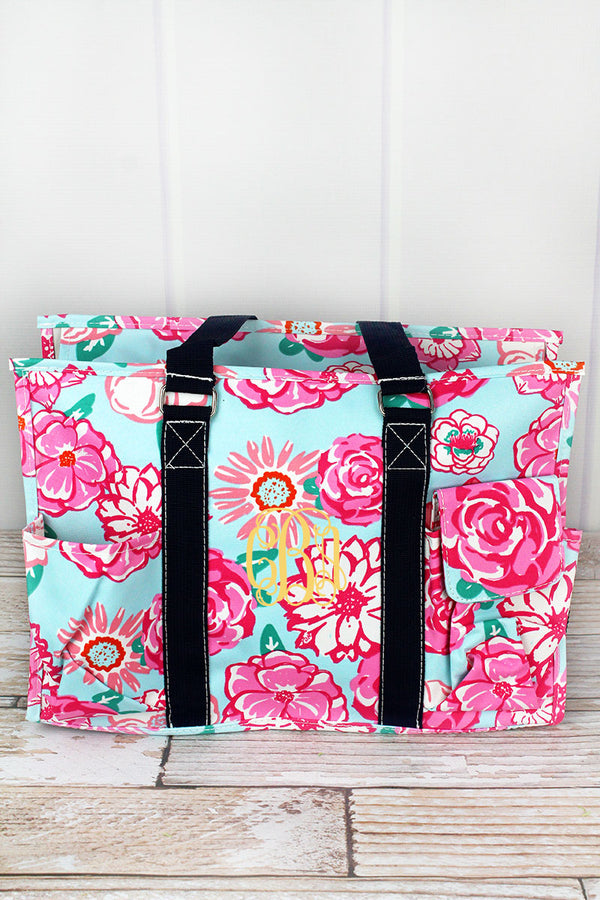 Pocket Full of Posies Utility Tote with Navy Trim
