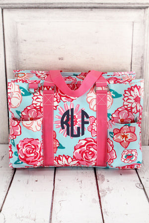 Pocket Full of Posies Utility Tote with Pink Trim #HHU731-PINK