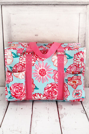 Pocket Full of Posies Utility Tote with Pink Trim
