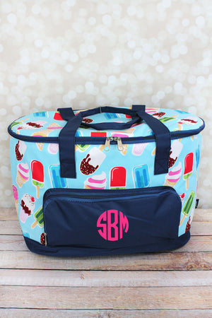 Scream For Ice Cream and Navy Cooler Tote with Lid
