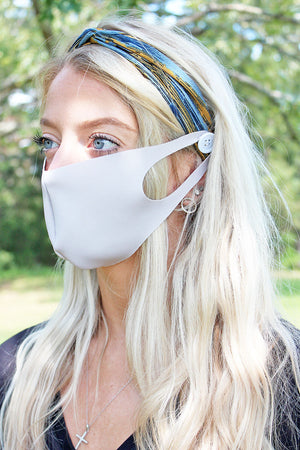 Paint The Town Yellow and Blue Button Headband Face Mask Holder
